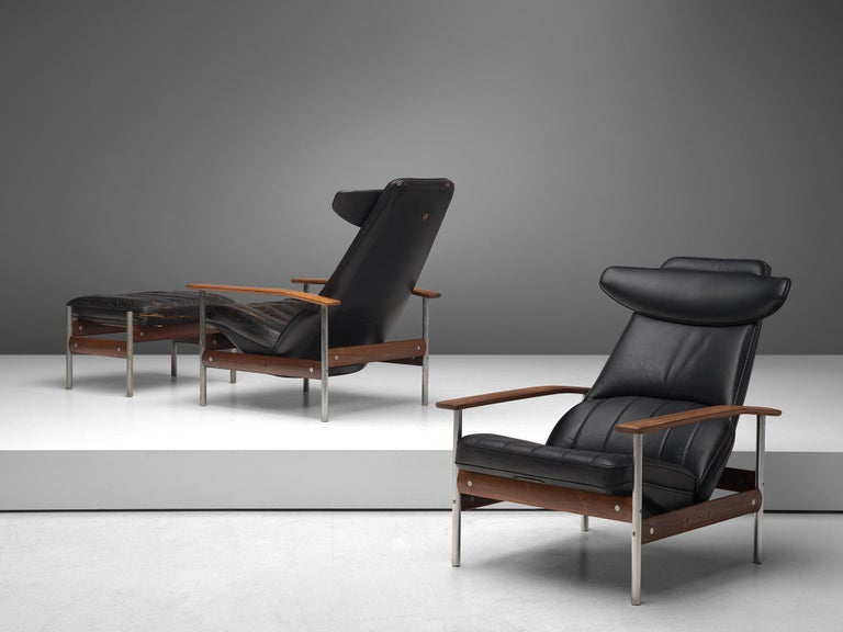 Sven Ivar Dysthe for Dokka Møbler, combined pair of lounge chairs with ottoman, leather, leatherette, rosewood, steel, Norway, 1960s.  Two armchairs with one ottoman, designed by Sven Ivar Dysthe for Dokke Møbler. The frames of these armchairs are