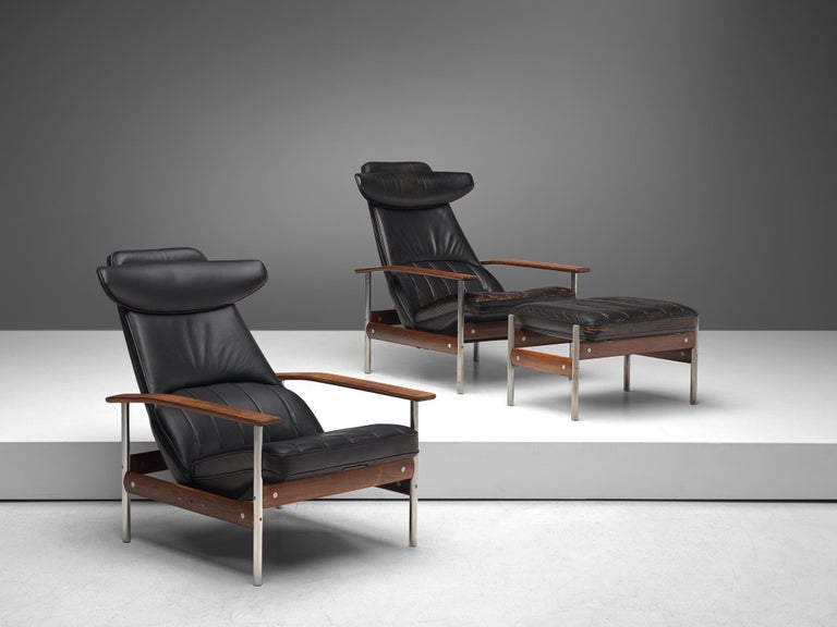 Scandinavian Modern Two Norwegian Lounge Chairs with Ottoman by Sven Ivar Dysthe in Black Leather For Sale