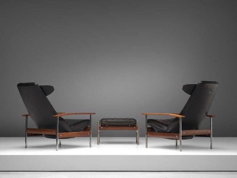 Two Norwegian Lounge Chairs with Ottoman by Sven Ivar Dysthe in Black Leather In Good Condition For Sale In Waalwijk, NL