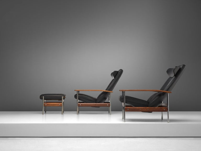 Mid-20th Century Two Norwegian Lounge Chairs with Ottoman by Sven Ivar Dysthe in Black Leather For Sale