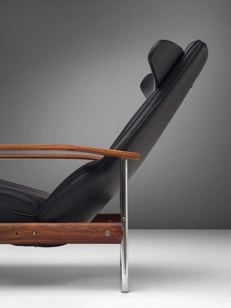 Steel Two Norwegian Lounge Chairs with Ottoman by Sven Ivar Dysthe in Black Leather For Sale