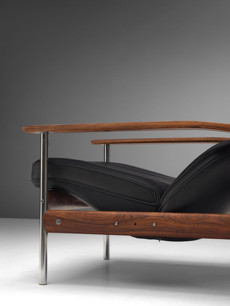 Two Norwegian Lounge Chairs with Ottoman by Sven Ivar Dysthe in Black Leather For Sale 1