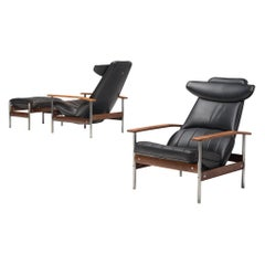 Two Norwegian Lounge Chairs with Ottoman by Sven Ivar Dysthe in Black Leather