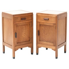 Two Oak Art Deco Amsterdam School Nightstand or Bedside Tables by Fa. Drilling