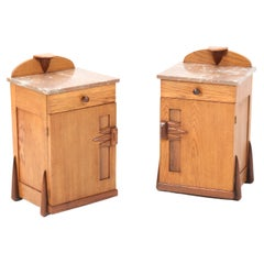 Two Oak Art Deco Amsterdamse School Nightstands or Bedside Tables by Max Coini