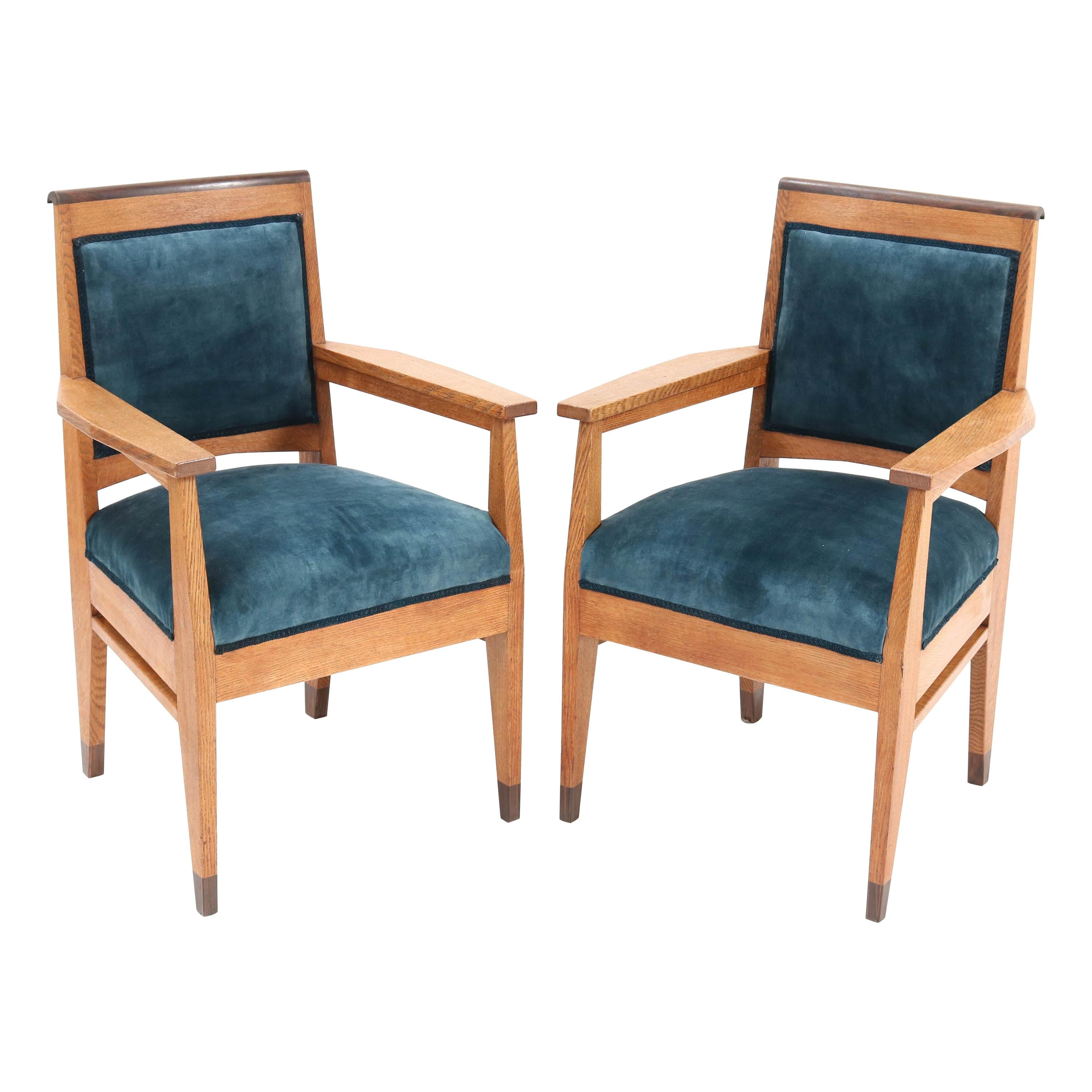 Two Oak Art Deco Haagse School Armchairs by Anton Lucas Leiden, 1920s