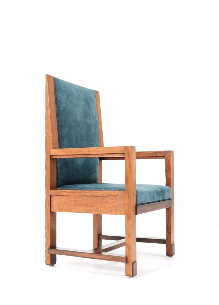 Two Oak Art Deco Haagse School Armchairs by Henk Wouda for Pander, 1924 For Sale 5