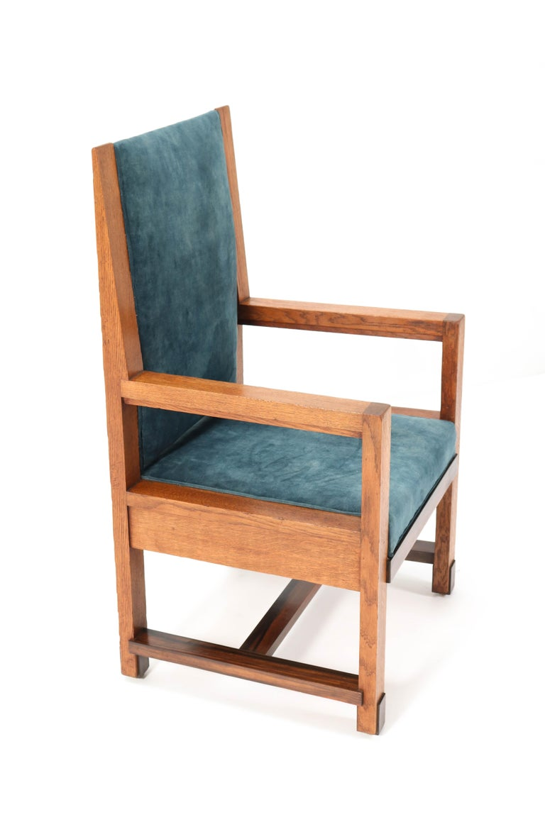 Two Oak Art Deco Haagse School Armchairs by Henk Wouda for Pander, 1924 For Sale 6