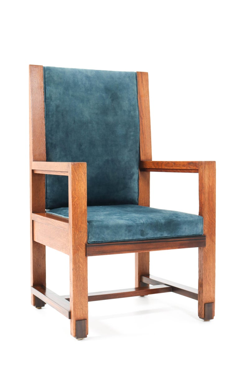 Two Oak Art Deco Haagse School Armchairs by Henk Wouda for Pander, 1924 For Sale 7