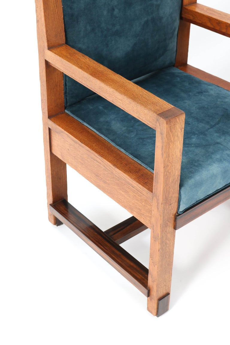 Two Oak Art Deco Haagse School Armchairs by Henk Wouda for Pander, 1924 For Sale 8