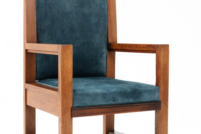 Two Oak Art Deco Haagse School Armchairs by Henk Wouda for Pander, 1924 For Sale 11