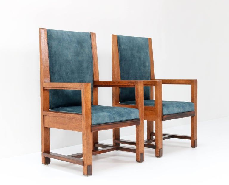 Dutch Two Oak Art Deco Haagse School Armchairs by Henk Wouda for Pander, 1924 For Sale