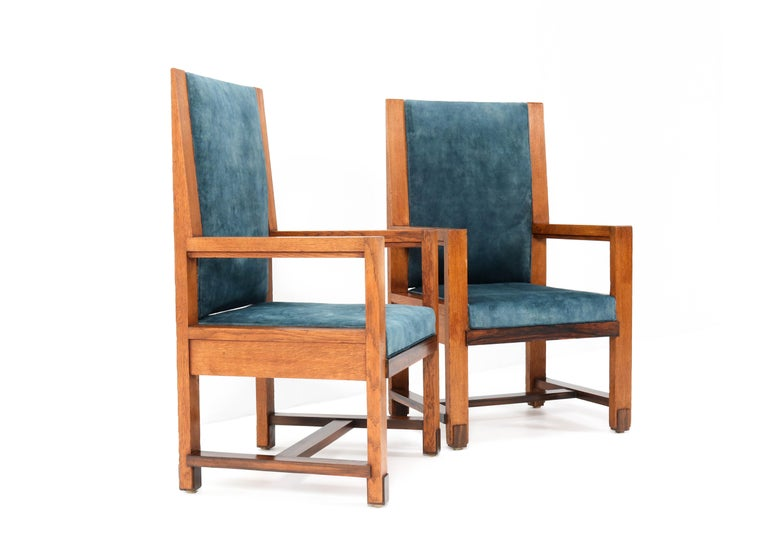 Two Oak Art Deco Haagse School Armchairs by Henk Wouda for Pander, 1924 For Sale 1