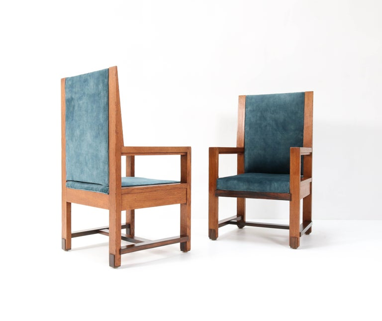 Two Oak Art Deco Haagse School Armchairs by Henk Wouda for Pander, 1924 For Sale 2