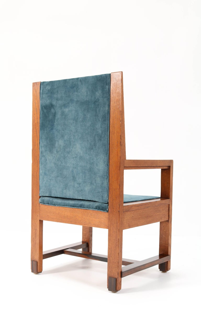 Two Oak Art Deco Haagse School Armchairs by Henk Wouda for Pander, 1924 For Sale 4