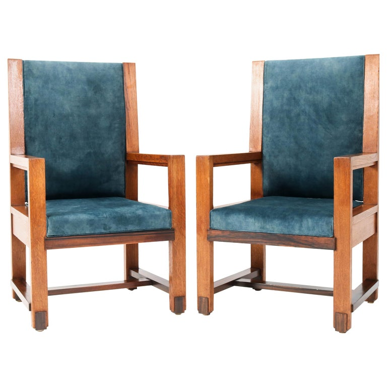 Two Oak Art Deco Haagse School Armchairs by Henk Wouda for Pander, 1924 For Sale