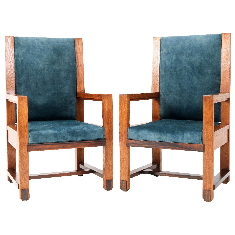 Two Oak Art Deco Haagse School Armchairs by Henk Wouda for Pander, 1924