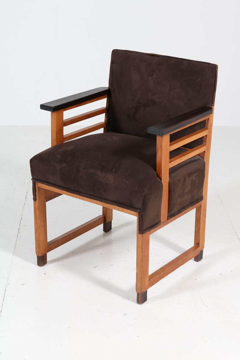 Two Oak Art Deco Haagse School Armchairs by t Woonhuys, Amsterdam, 1920s For Sale 6
