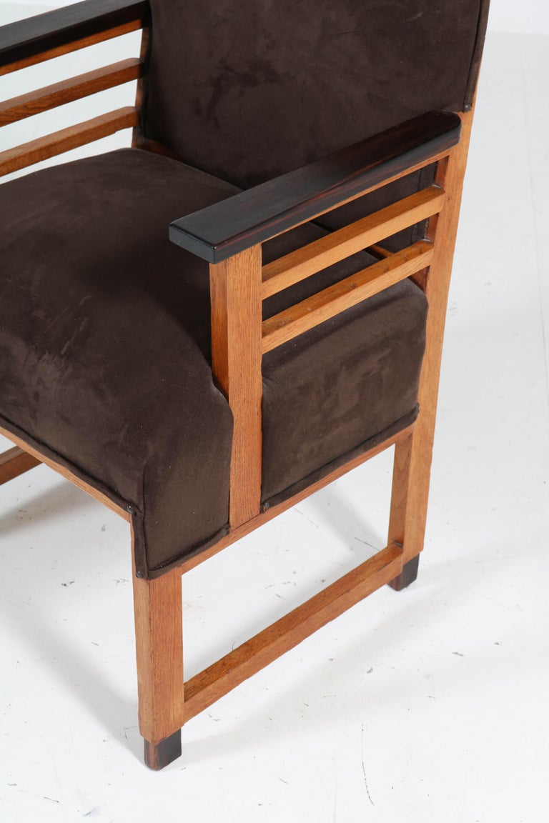 Two Oak Art Deco Haagse School Armchairs by t Woonhuys, Amsterdam, 1920s For Sale 7