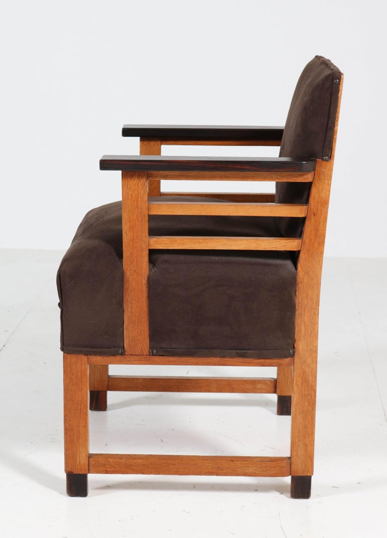 Two Oak Art Deco Haagse School Armchairs by t Woonhuys, Amsterdam, 1920s For Sale 8