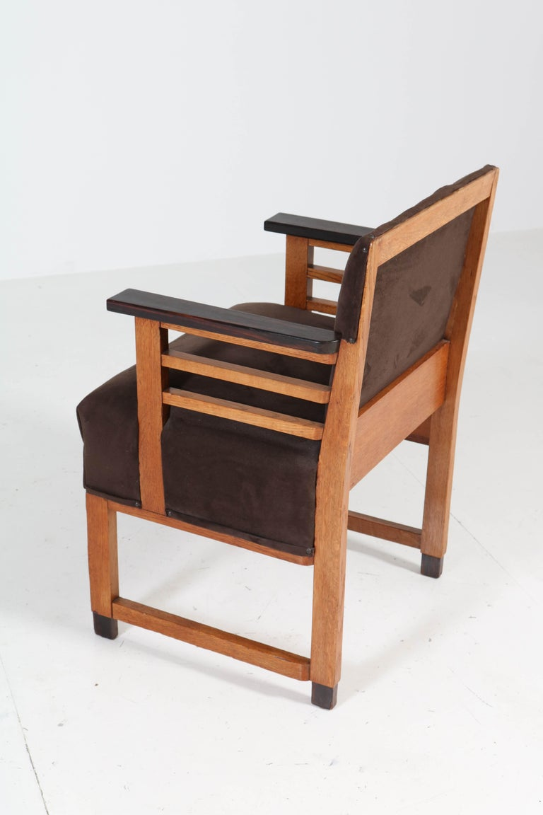 Two Oak Art Deco Haagse School Armchairs by t Woonhuys, Amsterdam, 1920s For Sale 9