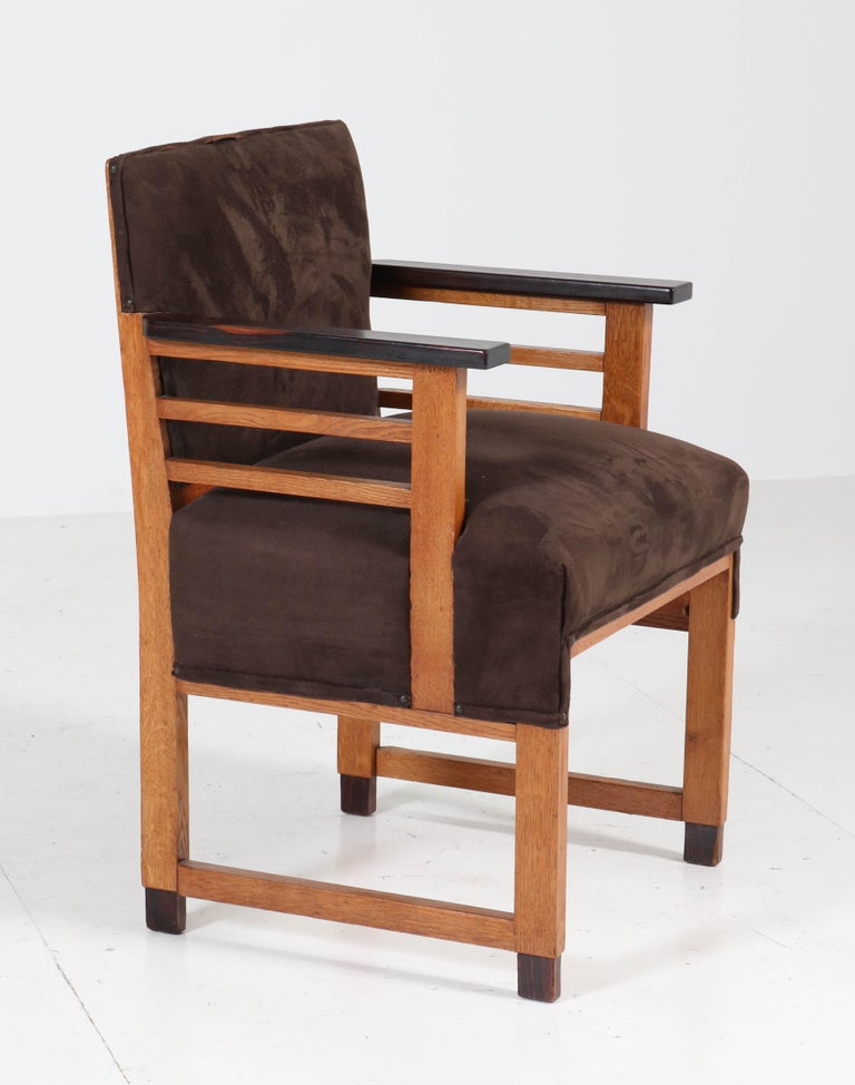 Fabric Two Oak Art Deco Haagse School Armchairs by t Woonhuys, Amsterdam, 1920s For Sale