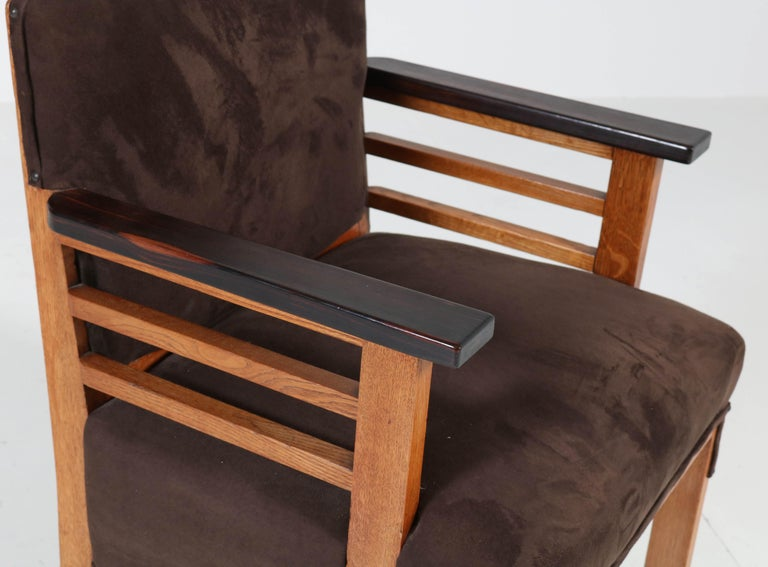 Two Oak Art Deco Haagse School Armchairs by t Woonhuys, Amsterdam, 1920s For Sale 3