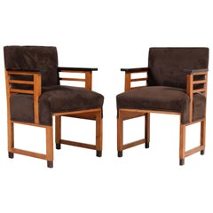 Two Oak Art Deco Haagse School Armchairs by t Woonhuys, Amsterdam, 1920s
