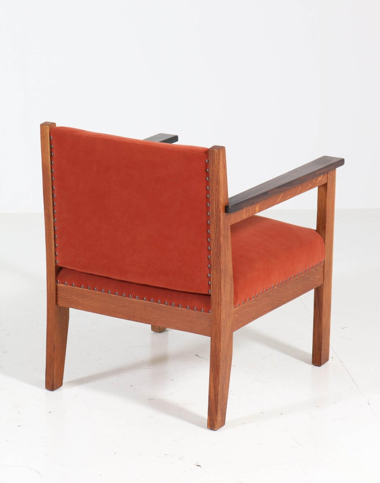 Two Oak Art Deco Haagse School Lounge Chairs, 1920s For Sale 4