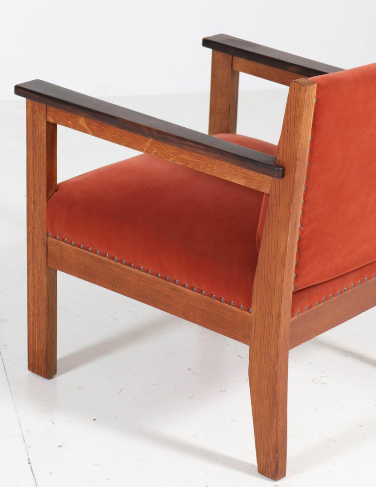 Two Oak Art Deco Haagse School Lounge Chairs, 1920s For Sale 5