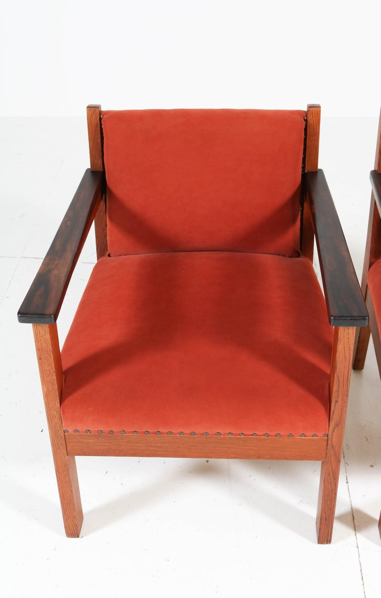 Two Oak Art Deco Haagse School Lounge Chairs, 1920s For Sale 7