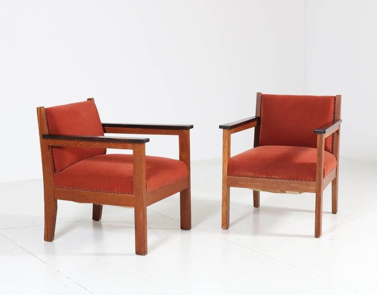 Dutch Two Oak Art Deco Haagse School Lounge Chairs, 1920s For Sale