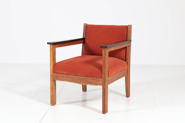 Early 20th Century Two Oak Art Deco Haagse School Lounge Chairs, 1920s For Sale
