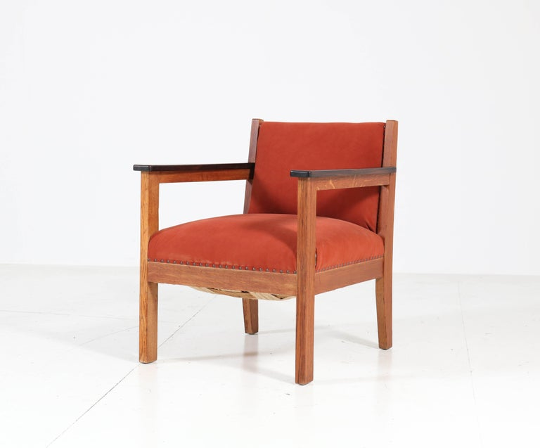 Fabric Two Oak Art Deco Haagse School Lounge Chairs, 1920s For Sale