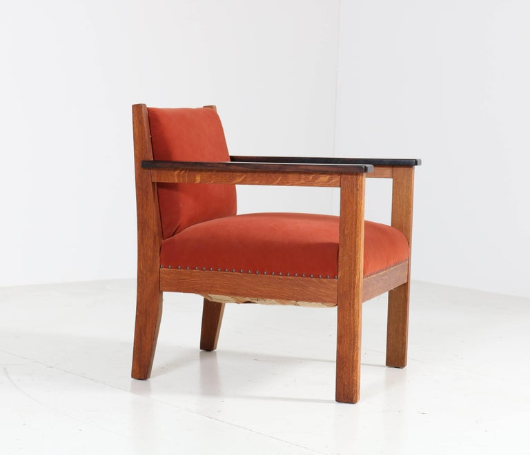 Two Oak Art Deco Haagse School Lounge Chairs, 1920s For Sale 1