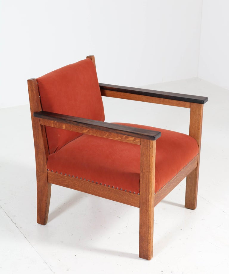 Two Oak Art Deco Haagse School Lounge Chairs, 1920s For Sale 2