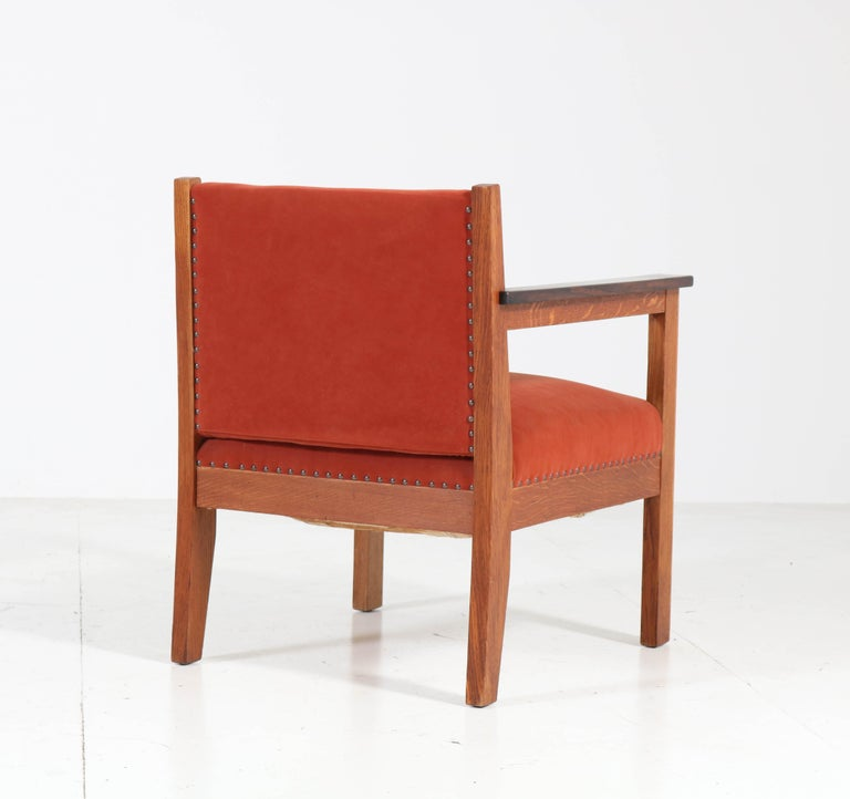 Two Oak Art Deco Haagse School Lounge Chairs, 1920s For Sale 3