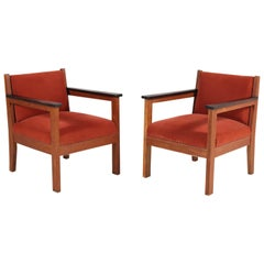 Two Oak Art Deco Haagse School Lounge Chairs, 1920s
