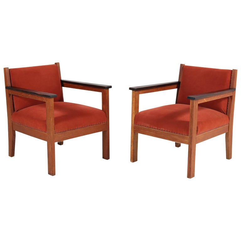 Two Oak Art Deco Haagse School Lounge Chairs, 1920s For Sale