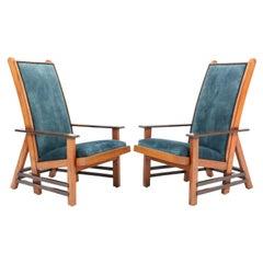 Two Oak Art Deco Haagse School Lounge Chairs by Dick van Luijn, 1920s