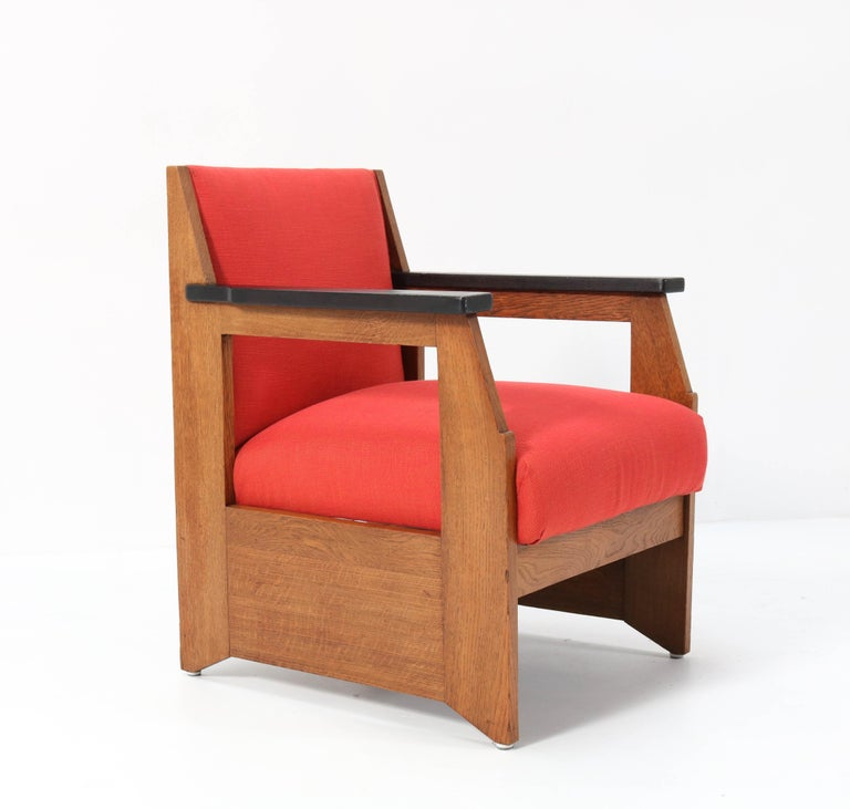 Dutch Two Oak Art Deco Haagse School Lounge Chairs by Hendrik Wouda for Pander, 1924 For Sale
