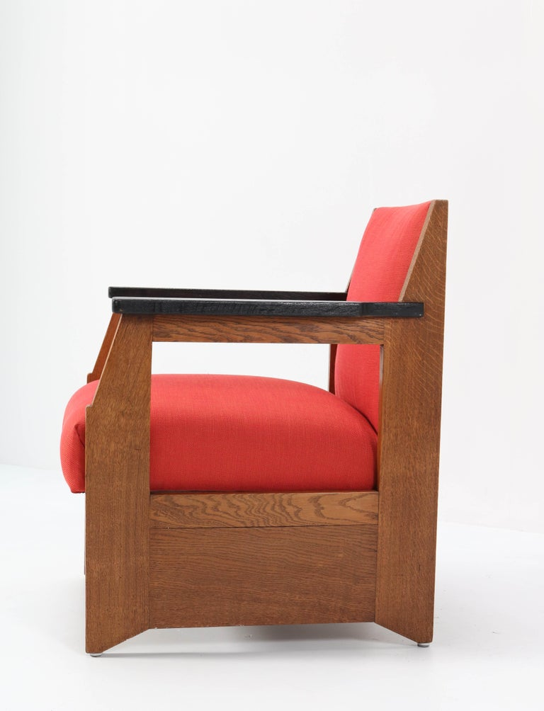 Two Oak Art Deco Haagse School Lounge Chairs by Hendrik Wouda for Pander, 1924 For Sale 1