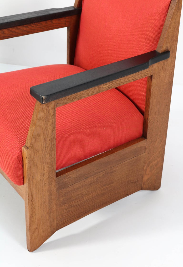 Two Oak Art Deco Haagse School Lounge Chairs by Hendrik Wouda for Pander, 1924 For Sale 4