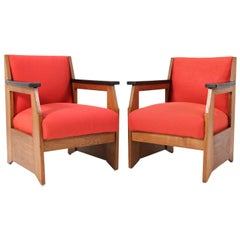 Two Oak Art Deco Haagse School Lounge Chairs by Hendrik Wouda for Pander, 1924
