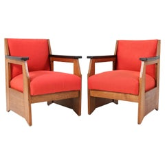 Two Oak Art Deco Haagse School Lounge Chairs by Hendrik Wouda for Pander, 1924