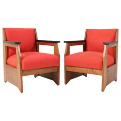 Two Oak Art Deco Haagse School Lounge Chairs by Henk Wouda for Pander, 1924