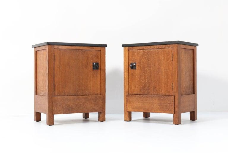 Early 20th Century Two Oak Art Deco Haagse School Nightstands by Henk Wouda for H. Pander & Zonen