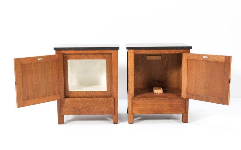 Stone Two Oak Art Deco Haagse School Nightstands by Henk Wouda for H. Pander & Zonen