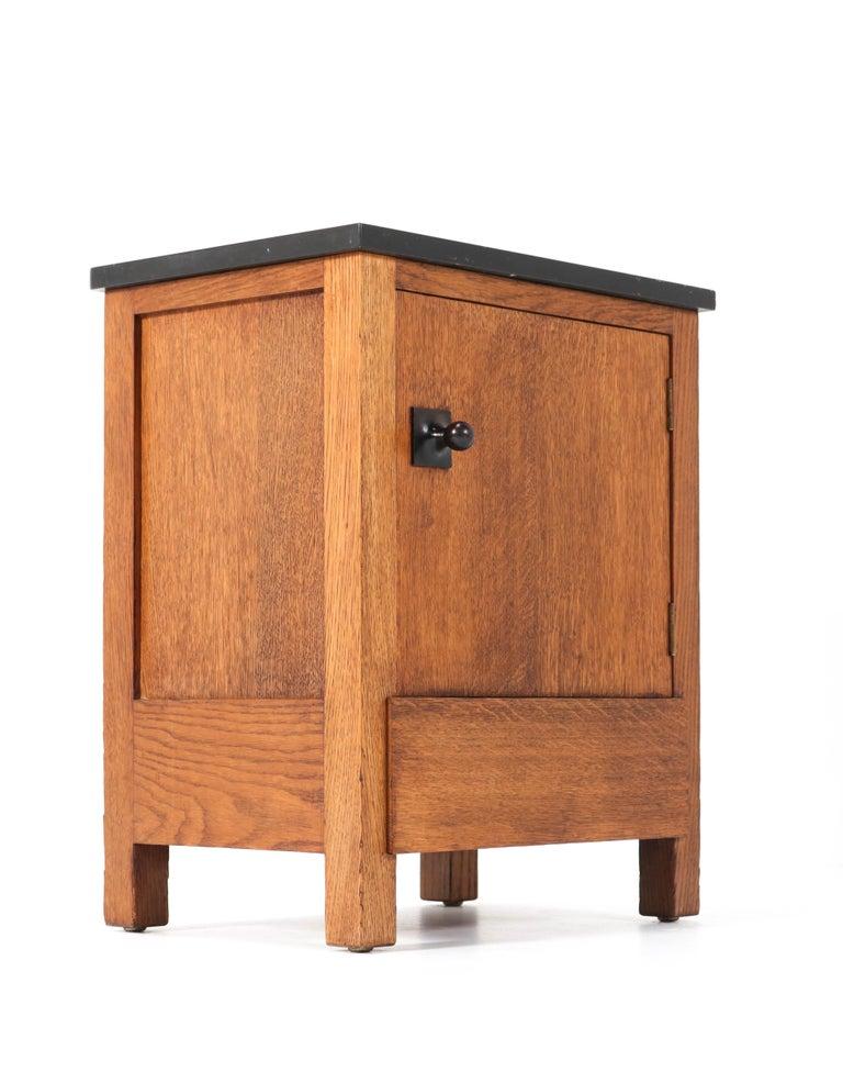 Two Oak Art Deco Haagse School Nightstands by Henk Wouda for H. Pander & Zonen 3