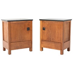 Two Oak Art Deco Haagse School Nightstands by Henk Wouda for H. Pander & Zonen